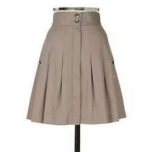 Fei by Anthropologie Pleated Khaki Skirt